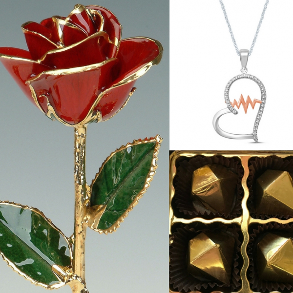 1/5 Ctw Diamond Heartbeat Necklace and 24k Gold Trimmed Rose Gift Set by 24K Rose