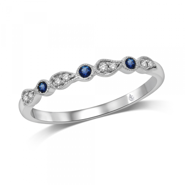 14k White Gold .09ctw Sapphire and Diamond Stackable Band by Stackables