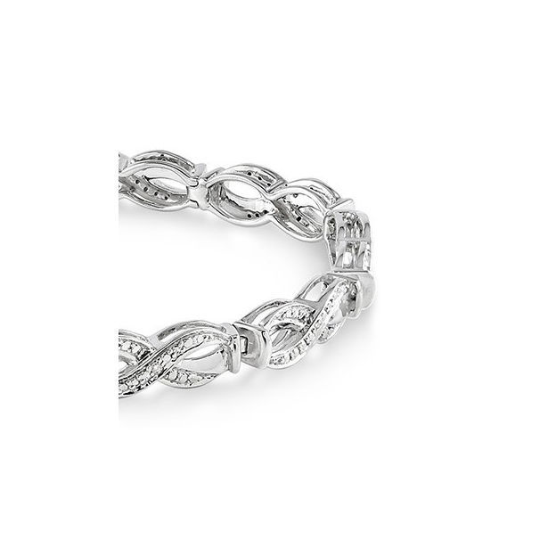 1/20 Ctw Swirl Shape Single Cut Diamond Tennis Bracelet in Sterling Silver by Daphne Diamond