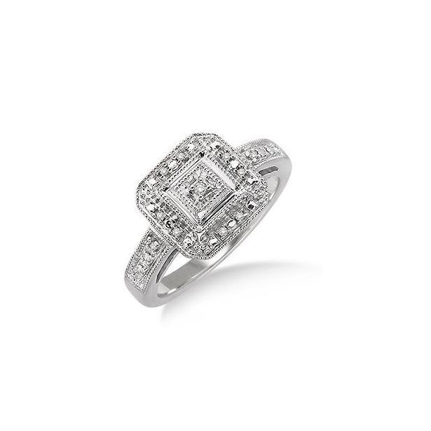 1/20 Ctw Single Cut Diamond Ring in Sterling Silver by Daphne Diamond