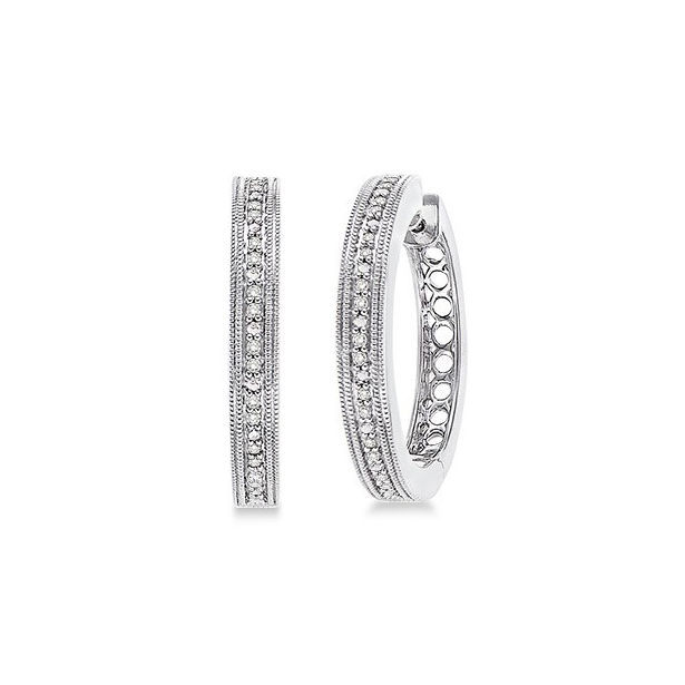 1/10 Ctw Single Cut Diamond Hoop Earrings in Sterling Silver by Daphne Diamond