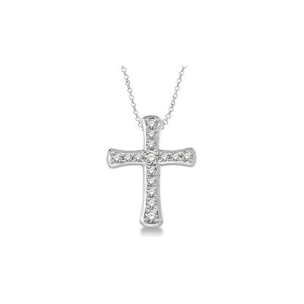 1/20 Ctw Single Cut Diamond Cross Pendant in Sterling Silver with Chain by Daphne Diamond