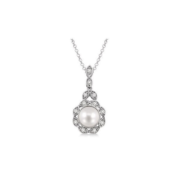 6.5x6.5 mm Cultured Pearl and 1/20 Ctw Single Cut Diamond Pendant in Sterling Silver with Chain by Daphne Diamond
