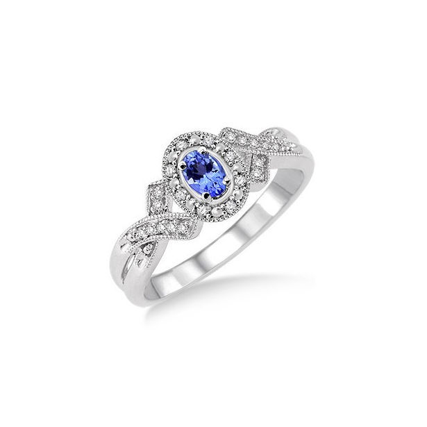 5x3 mm Oval Cut Tanzanite and 1/50 Ctw Single Cut Diamond Ring in Sterling Silver by Daphne Diamond