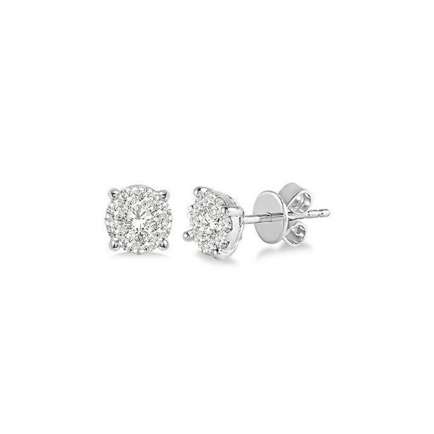1/2 Ctw Lovebright Round Cut Diamond Earrings in 14K White Gold by Lovebright