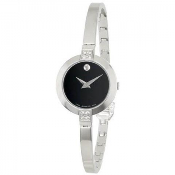 Movado Bela Black Dial Stainless Steel Bangle Bracelet Ladies Watch by Movado