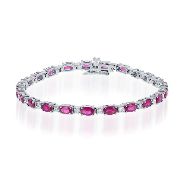 14k White Gold 8ctw Ruby 1ctw Oval Diamond Bracelet  by Jewels By Jacob
