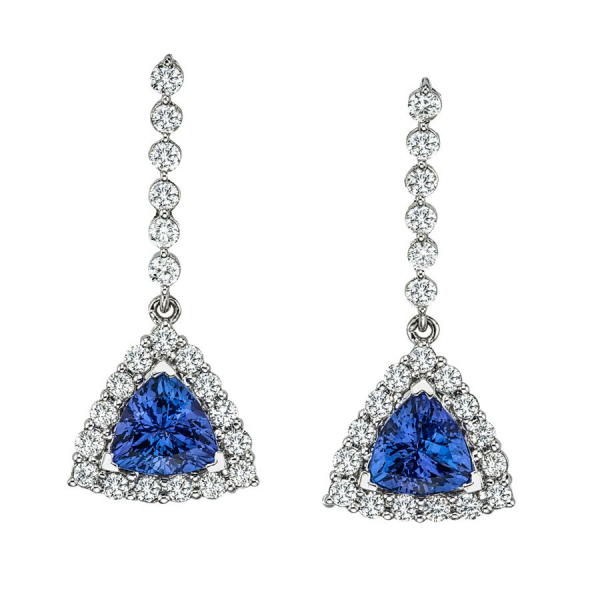 White Diamond and Tanzanite Fashion Earrings Set in 14k White Gold by KALLATI