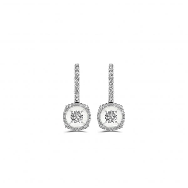 14K WHITE GOLD.40ctw DIAMOND DANGLE EARRINGS by Magnificence