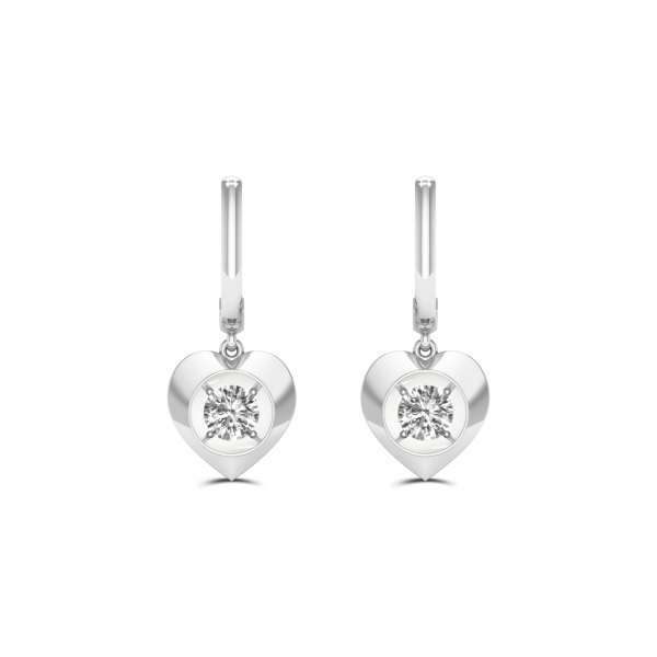 10K WHITE GOLD .16ctw DIAMOND HEART EARRINGS by Magnificence