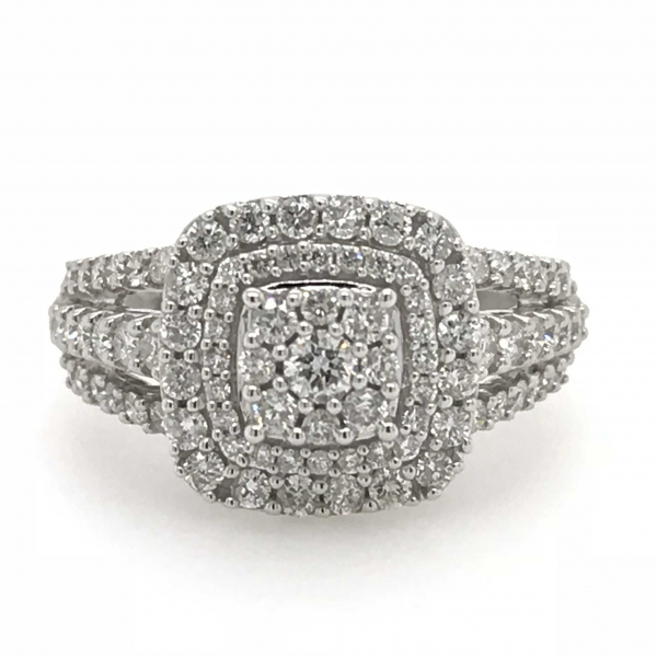 10k White Gold 1ctw Double Halo Round Diamond Engagement Ring  by Fairytale