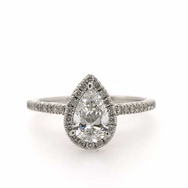 14K WHITE GOLD 1 CTW PEAR SHAPED HALO DIAMOND ENGAGEMENT RING by DREAM