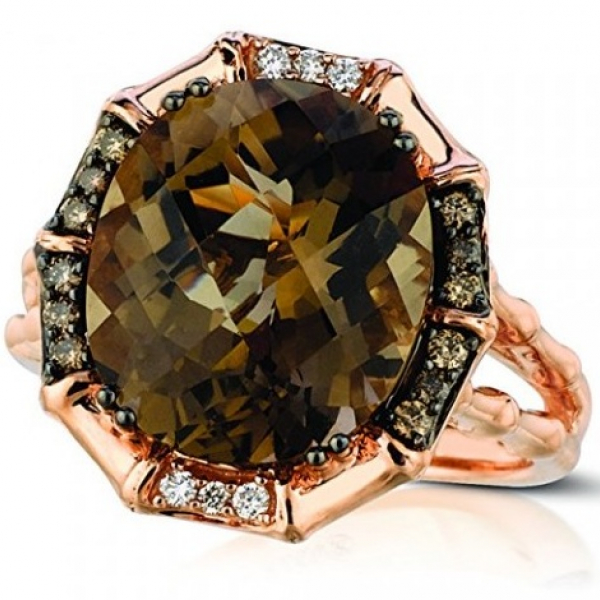 LEVIAN 6.43tw  OVAL CUT CHOCOLATE QUARTZ, WHITE & CHOCOLATE DIAMOND RING IN 14K ROSE GOLD by Le Vian