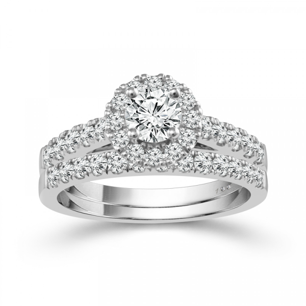 14k White Gold 1.25ctw Round Diamond Bridal Set by Cien Amore