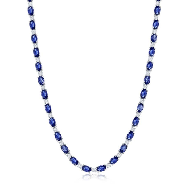 14k White Gold 49.13ctw Oval Sapphire 5.99ctw Diamond Necklace  by Jewels By Jacob