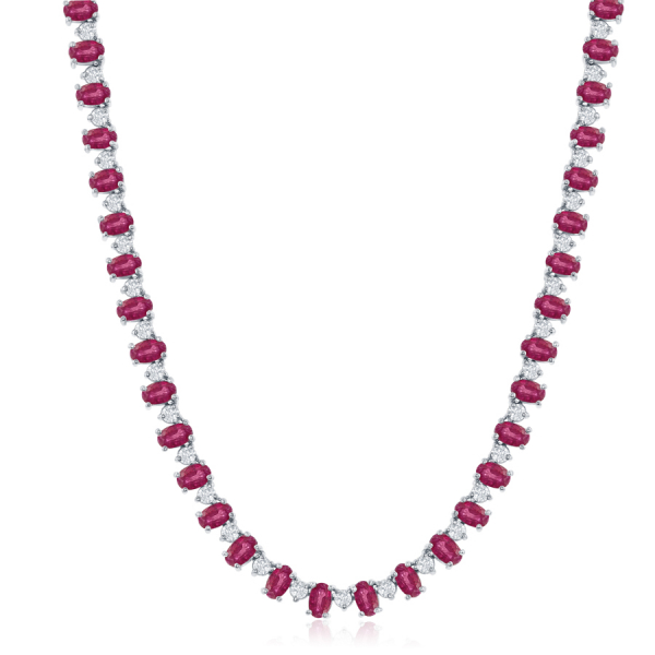 14k White Gold 21.66ctw Oval Ruby 3.99ctw Diamond Necklace by Jewels By Jacob