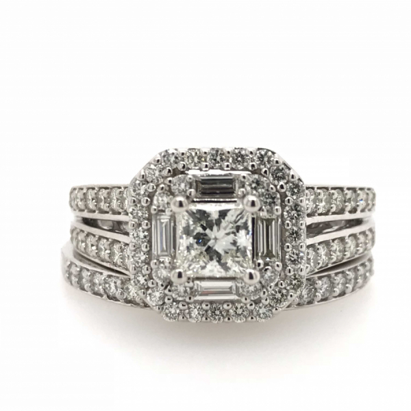 14k White Gold 1.25ctw Diamond Bridal Set with .50ctw Princess Cut Center by Cien Amore