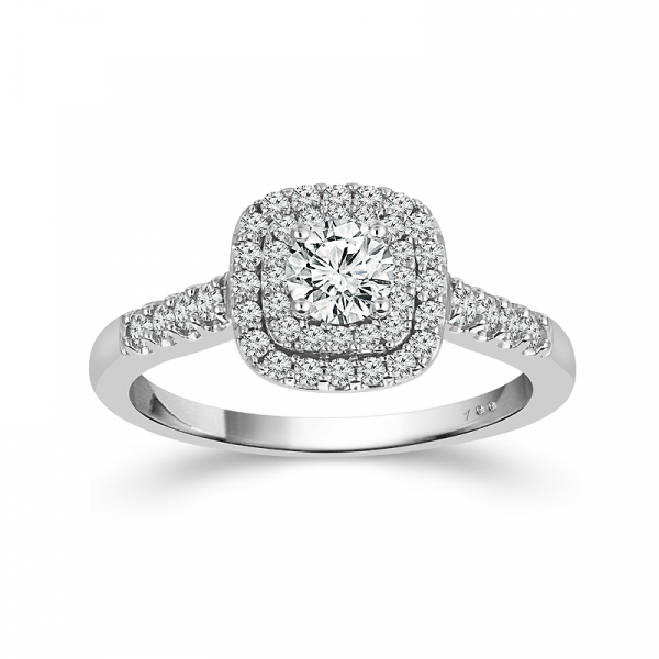 1.55 CTW 14k White Gold Double Halo Diamond Engagement Ring by Cien Amore