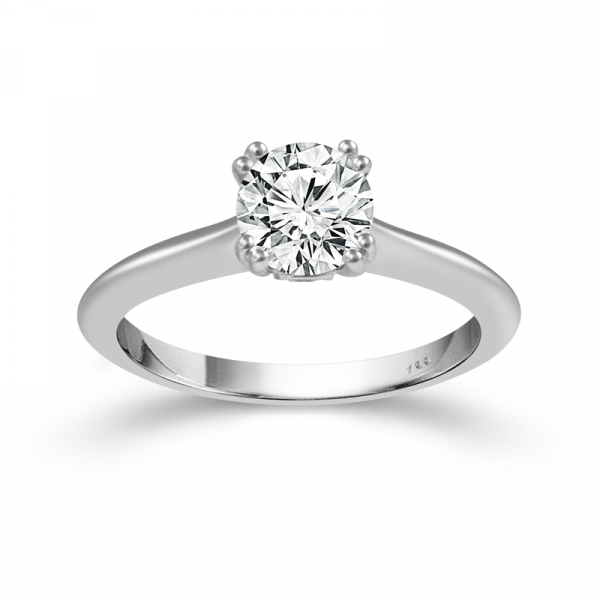 1/2 CTW 14k White Gold Round Diamond Engagement Ring  by Cien Amore