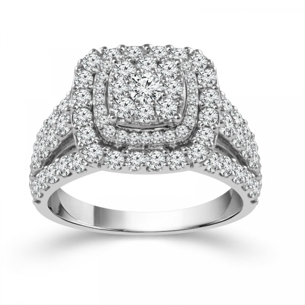 10k White Gold 2ctw Double Halo Diamond Engagement Ring by Fairytale