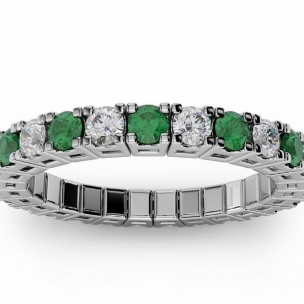 1/2 CT ETERNAL SPRYNGS DIAMOND/EMERALD BAND by Brevani Spryngs