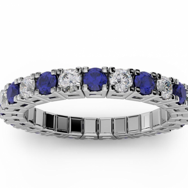 1/2 CARAT ETERNAL SPRYNGS DIAMOND AND SAPPHIRE RING by Brevani Spryngs