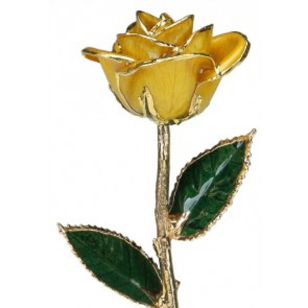 Yellow Rose Trimmed in 24k Gold (November) by 24K Rose