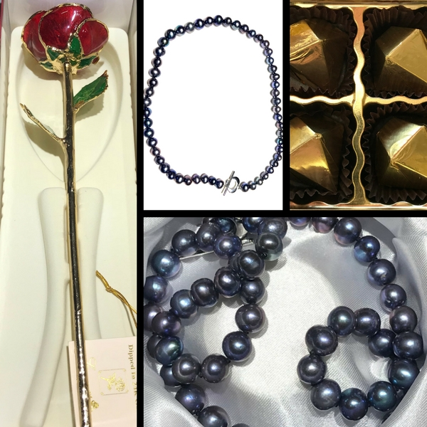 "18"" Fresh Water Black Pearl Necklace and 24k Gold Dipped Rose Gift Set by 24K Rose"