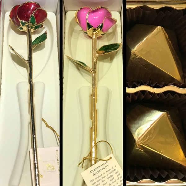 24k Gold Trimmed Red & Pink Rose Gift Set With Chocolates by 24K Rose
