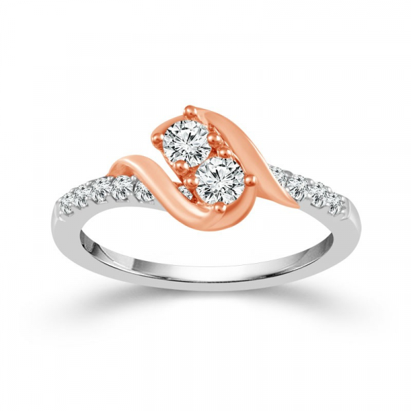 1 Carat Diamond 14 Karat Two-Toned Pink And White Gold Ring From The 2BeLoved Collection by 2beLoved