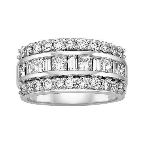 2 Carat White Diamond Wedding Band set in 14k White Gold  by KALLATI