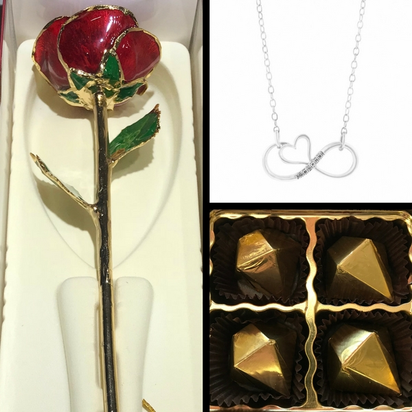 Red 24k Gold Trimmed Rose & .02Ct Infinite Love Diamond Necklace Set With Chocolates by 24K Rose